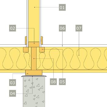 2D-ritning av bärande innervägg av konstruktionsvirke med anslutning mot bottenbjälklag