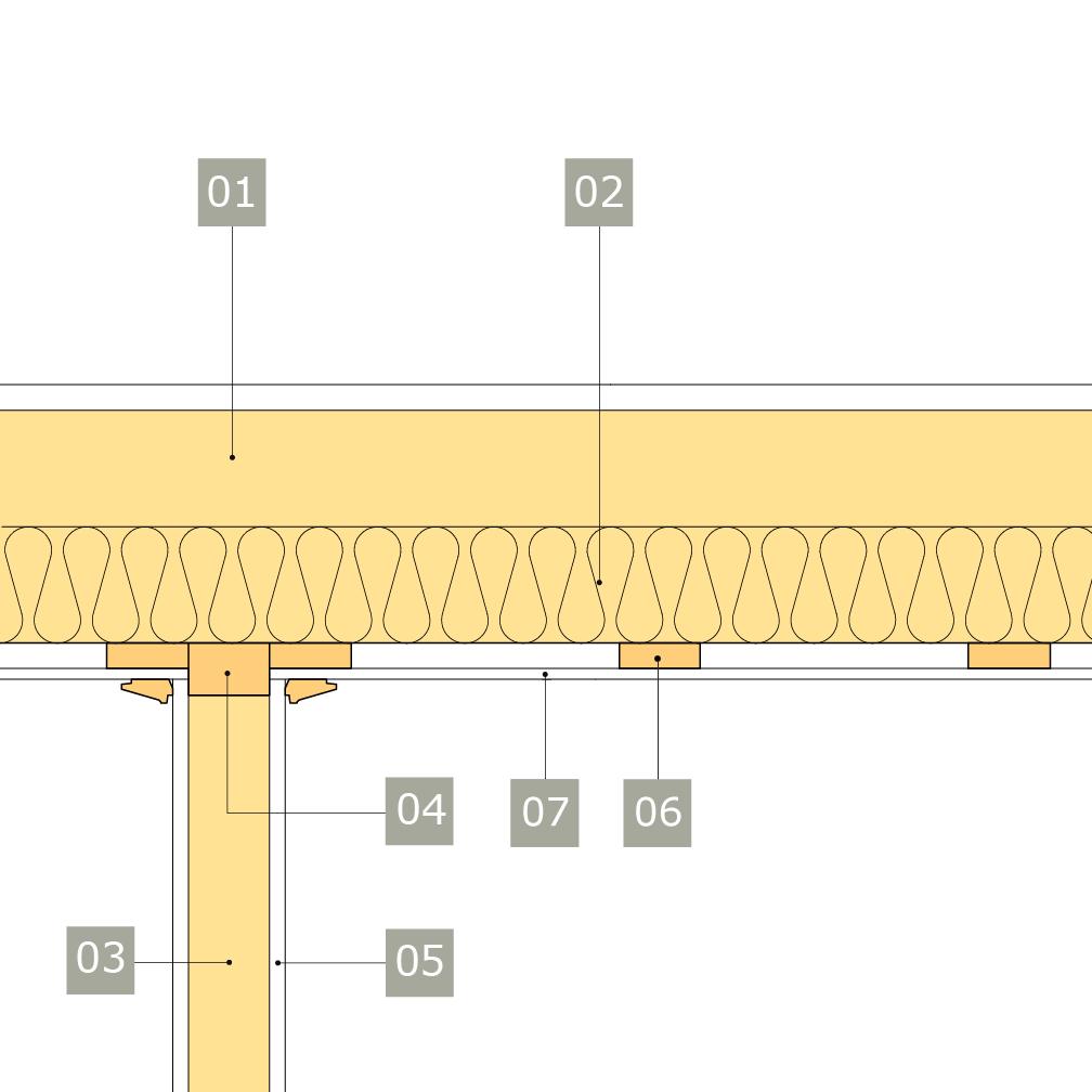 2D-ritning av bärande innervägg av konstruktionsvirke med anslutning mot mellanbjälklag