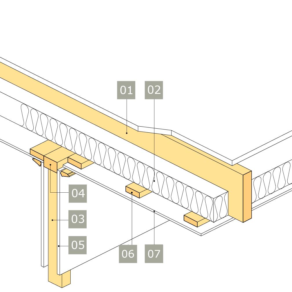 3D-ritning av bärande innervägg av konstruktionsvirke med anslutning mot mellanbjälklag