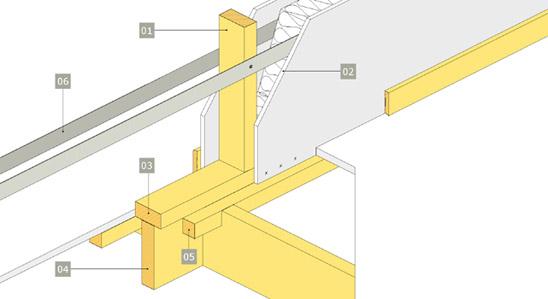 3D-ritning av bärande innervägg av konstruktionsvirke