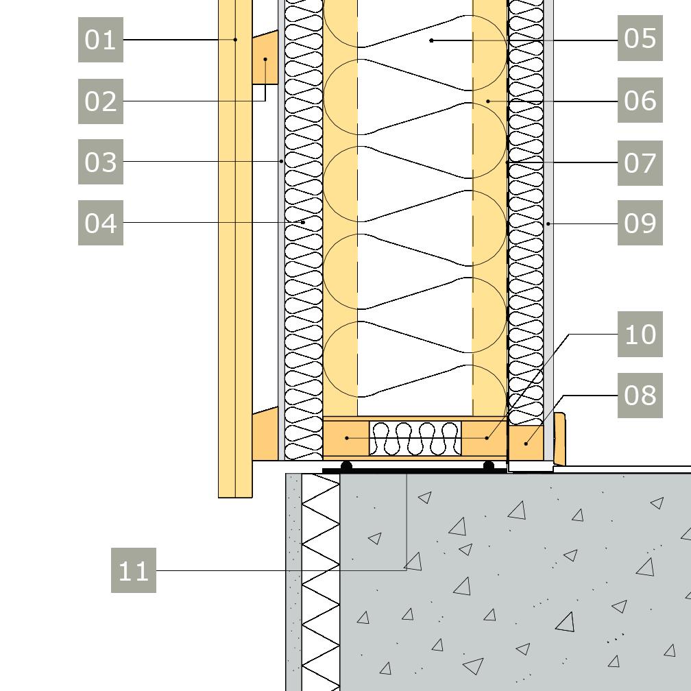 2D-ritning av bärande yttervägg av konstruktionsvirke eller lättreglar med anslutning mot betongplatta på mark