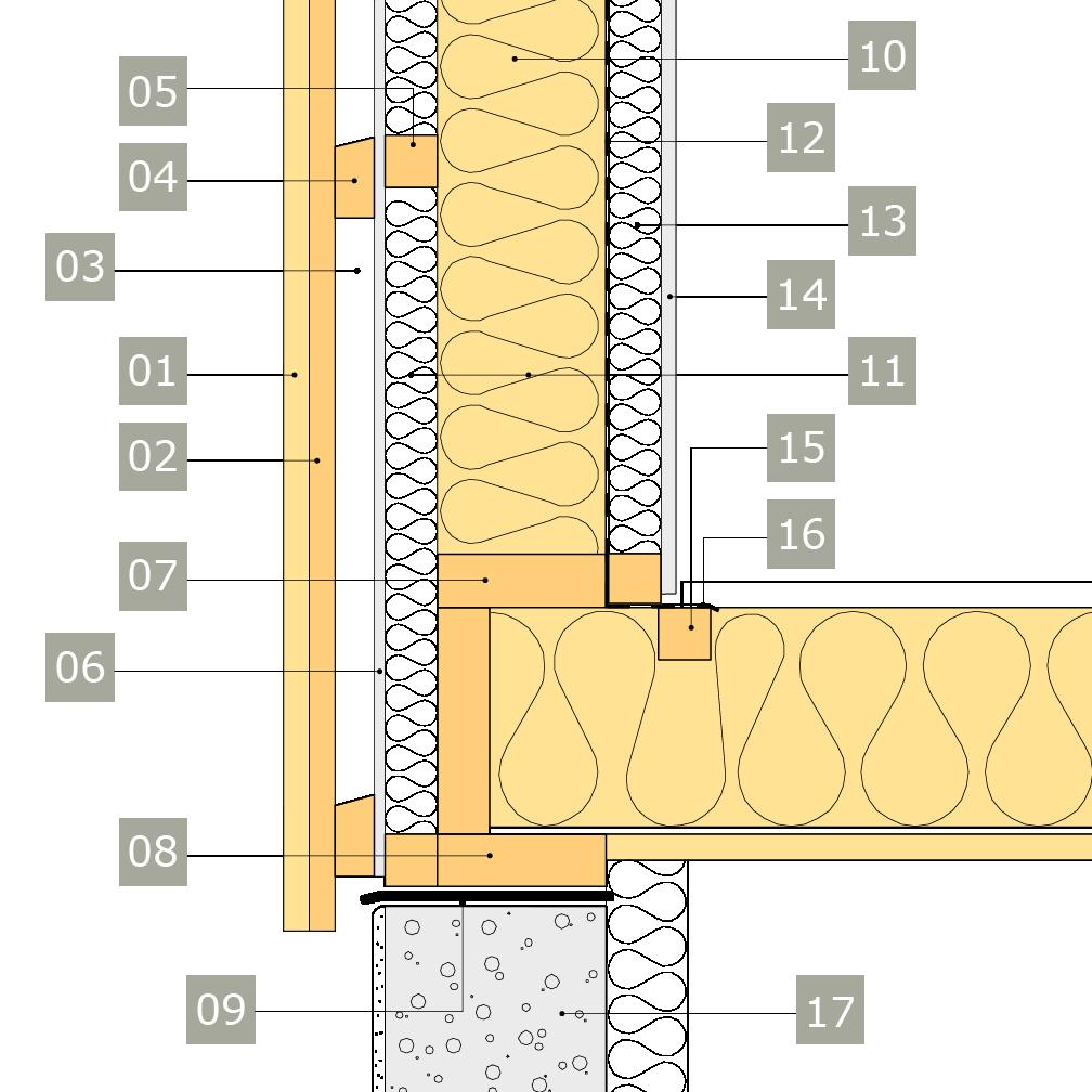 2D-ritning av bärande yttervägg av konstruktionsvirke med anslutning mot grundmur