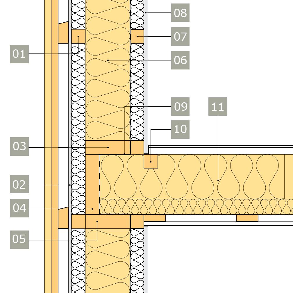 2D-ritning av bärande yttervägg av konstruktionsvirke med anslutning mot mellanbjälklag