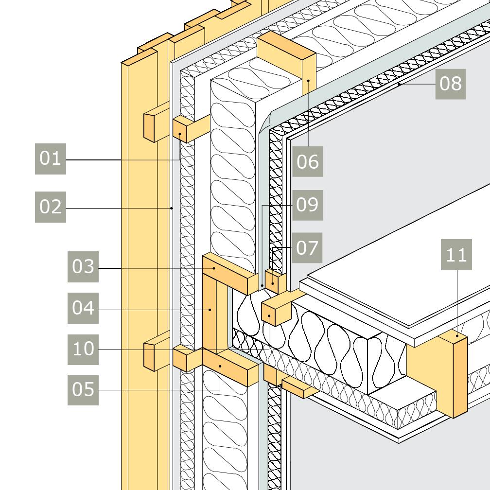 3D-ritning av bärande yttervägg av konstruktionsvirke med anslutning mot mellanbjälklag