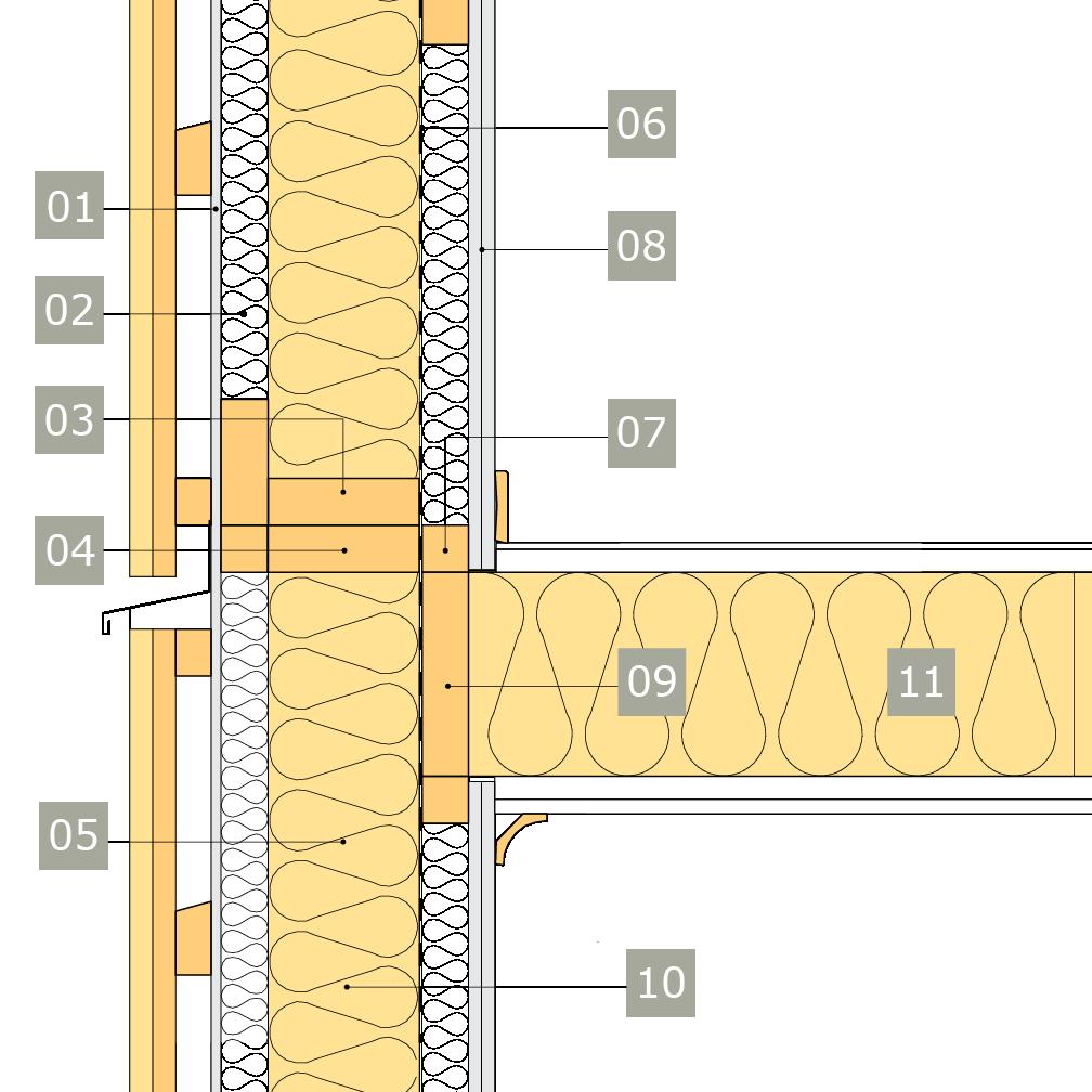 2D-ritning av bärande yttervägg av konstruktionsvirke med anslutning mot mellanbjälklag – väggreglar