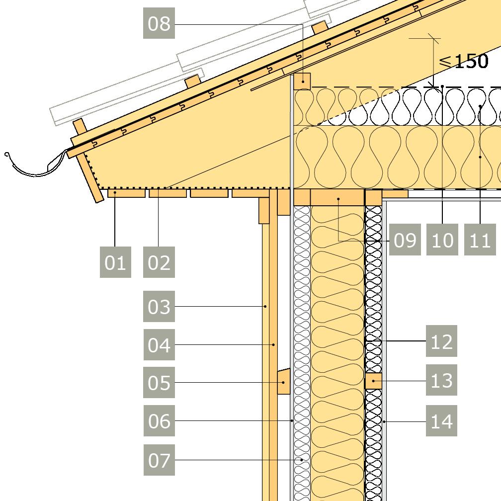 2D-ritning av bärande yttervägg av konstruktionsvirke med anslutning mot vindsbjälklag och inklädd takfot