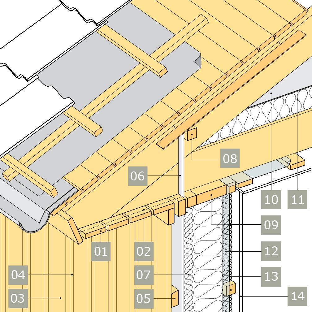 3D-ritning av bärande yttervägg av konstruktionsvirke med anslutning mot vindsbjälklag och inklädd takfot