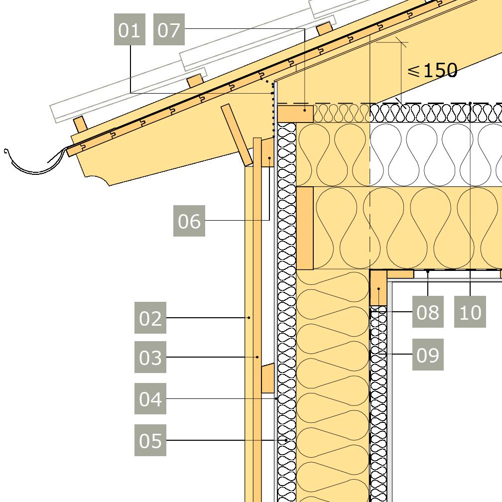 2D-ritning av bärande yttervägg av konstruktionsvirke med anslutning mot vindsbjälklag och öppen takfot