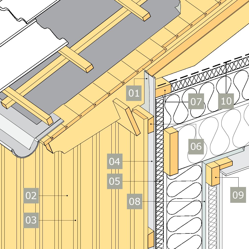 3D-ritning av bärande yttervägg av konstruktionsvirke med anslutning mot vindsbjälklag och öppen takfot