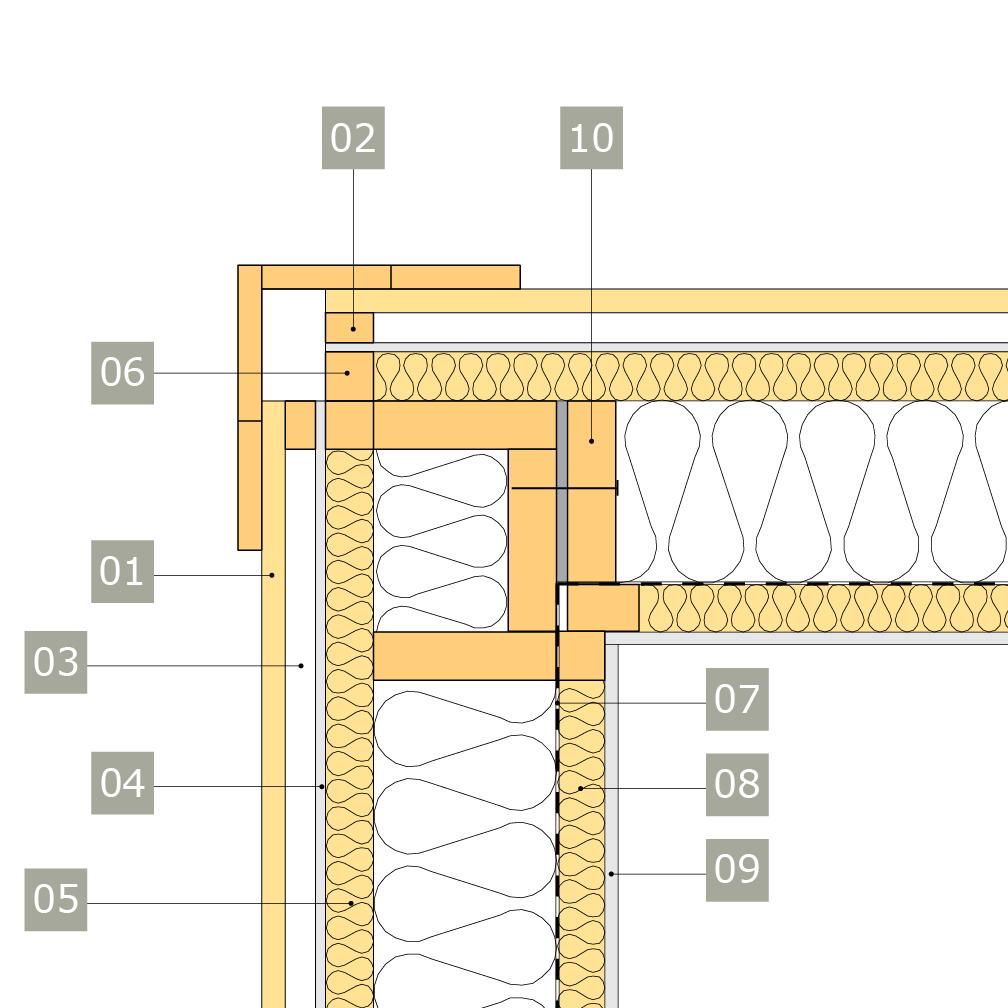 2D-ritning av bärande yttervägg av konstruktionsvirke med anslutning mot ytterväggshörn - korsande regelverk