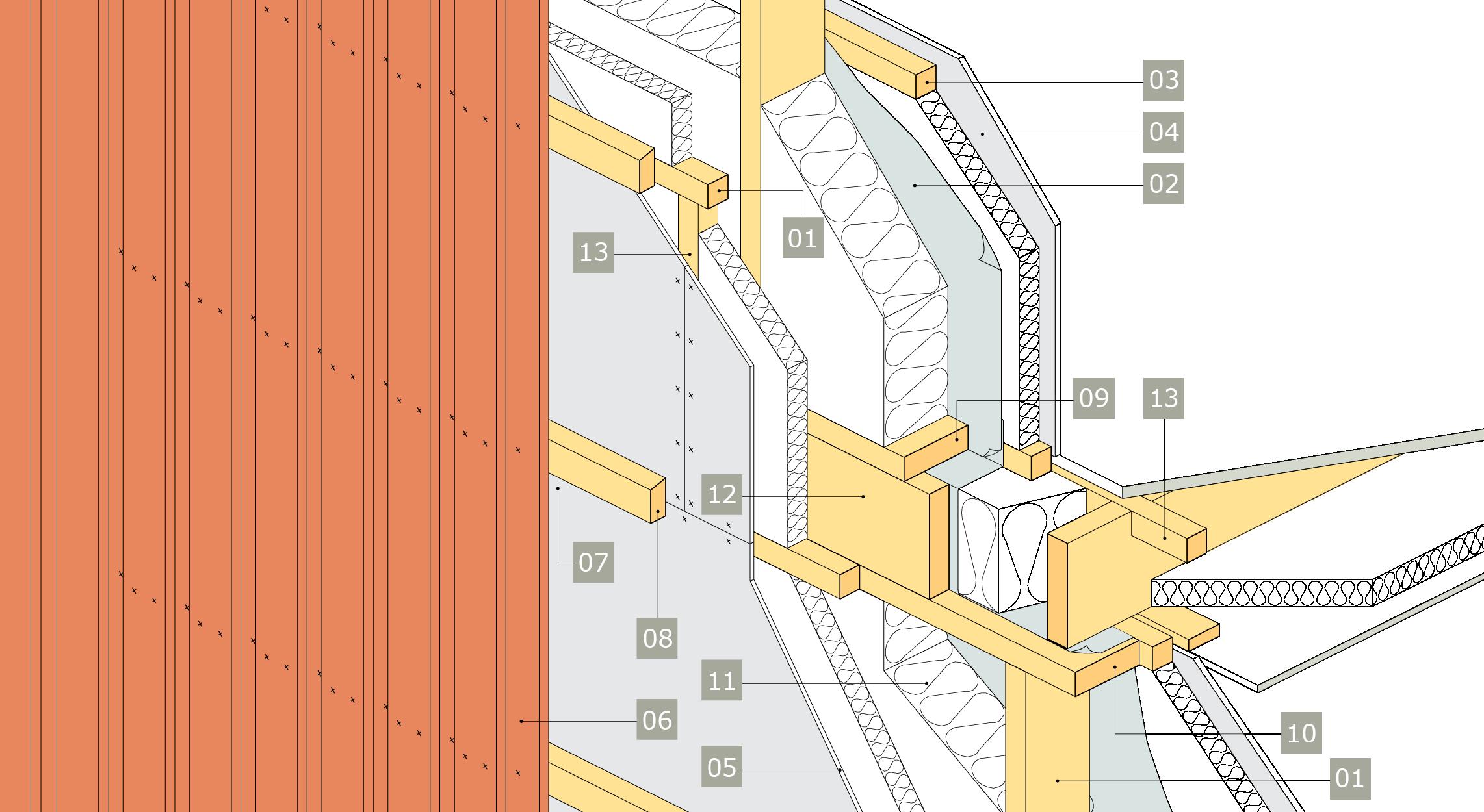 3D-ritning - principlösning för bärande yttervägg av konstruktionsvirke