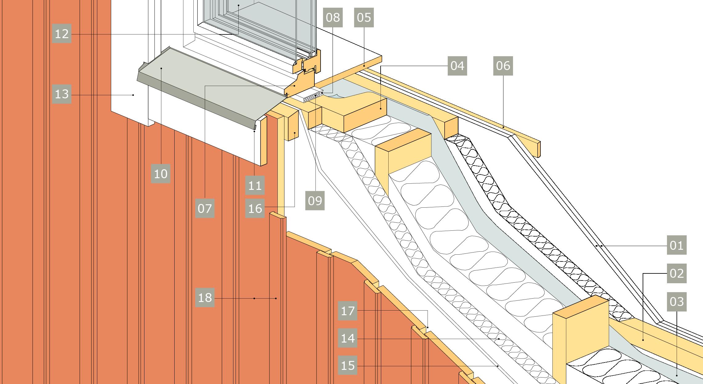 3D-ritning av fönster i ytterväggar - principlösning