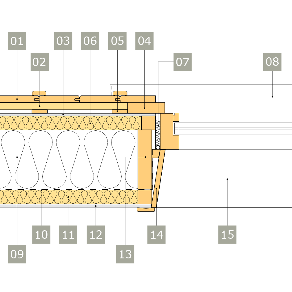 2D-ritning av fönster i yttervägg med reglar av konstruktionsvirke i två skikt – alternativ 1, horisontalsnitt, vinklad smyg