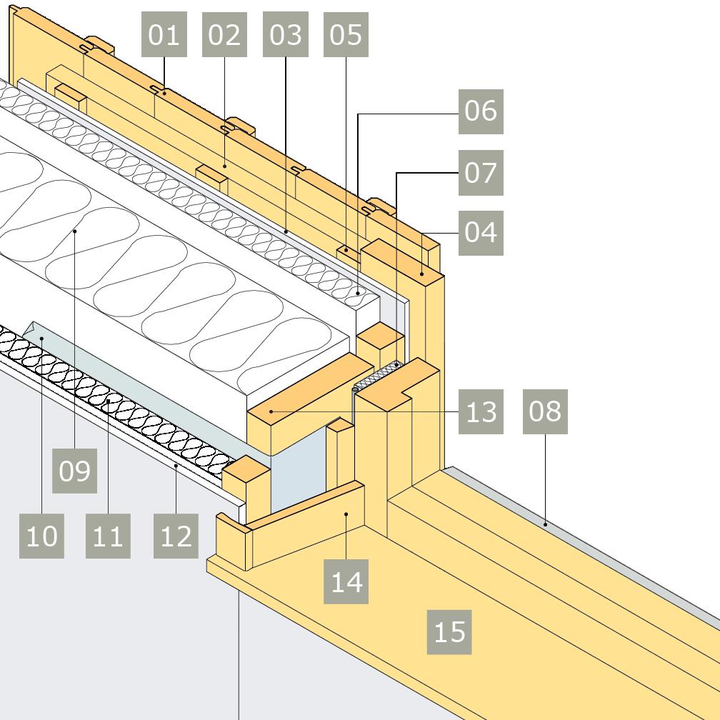 3D-ritning av fönster i yttervägg med reglar av konstruktionsvirke i två skikt – alternativ 1, horisontalsnitt, vinklad smyg