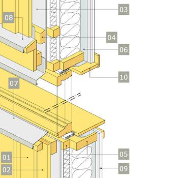 3D-ritning av fönster i yttervägg med reglar av konstruktionsvirke i två skikt – alternativ 1, vertikalsektion