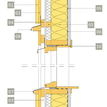 2D-ritning av fönster i yttervägg med reglar av konstruktionsvirke i två skikt – alternativ 1, vertikalsektion