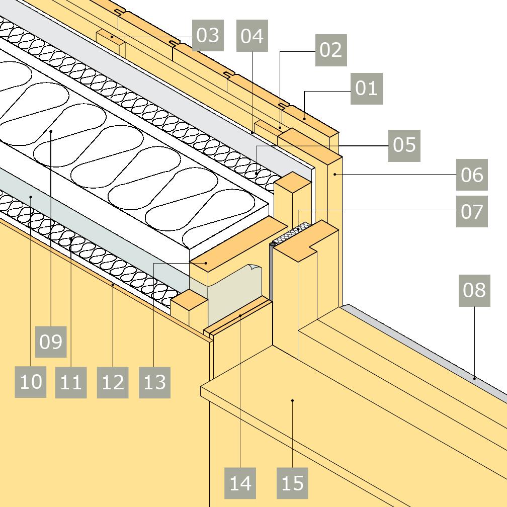 3D-ritning av fönster i yttervägg med reglar av konstruktionsvirke i två skikt – alternativ 2, horisontalsnitt, rak smyg