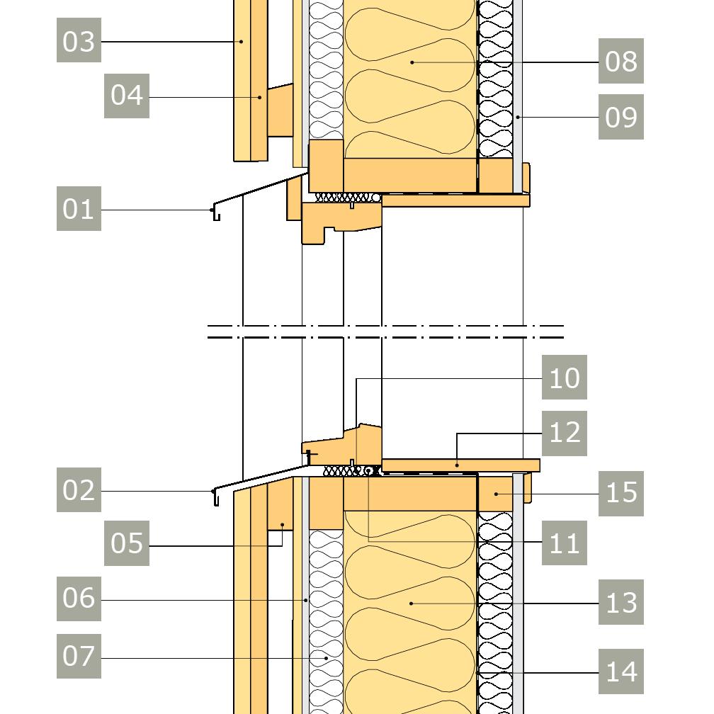 2D-ritning av fönster i yttervägg med reglar av konstruktionsvirke i två skikt – alternativ 2, vertikalsektion