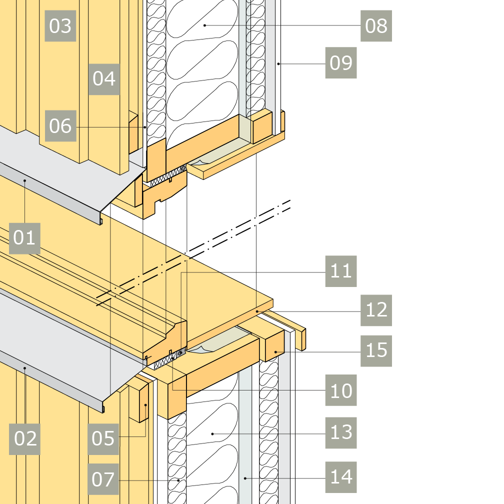 3D-ritning av fönster i yttervägg med reglar av konstruktionsvirke i två skikt – alternativ 2, vertikalsektion