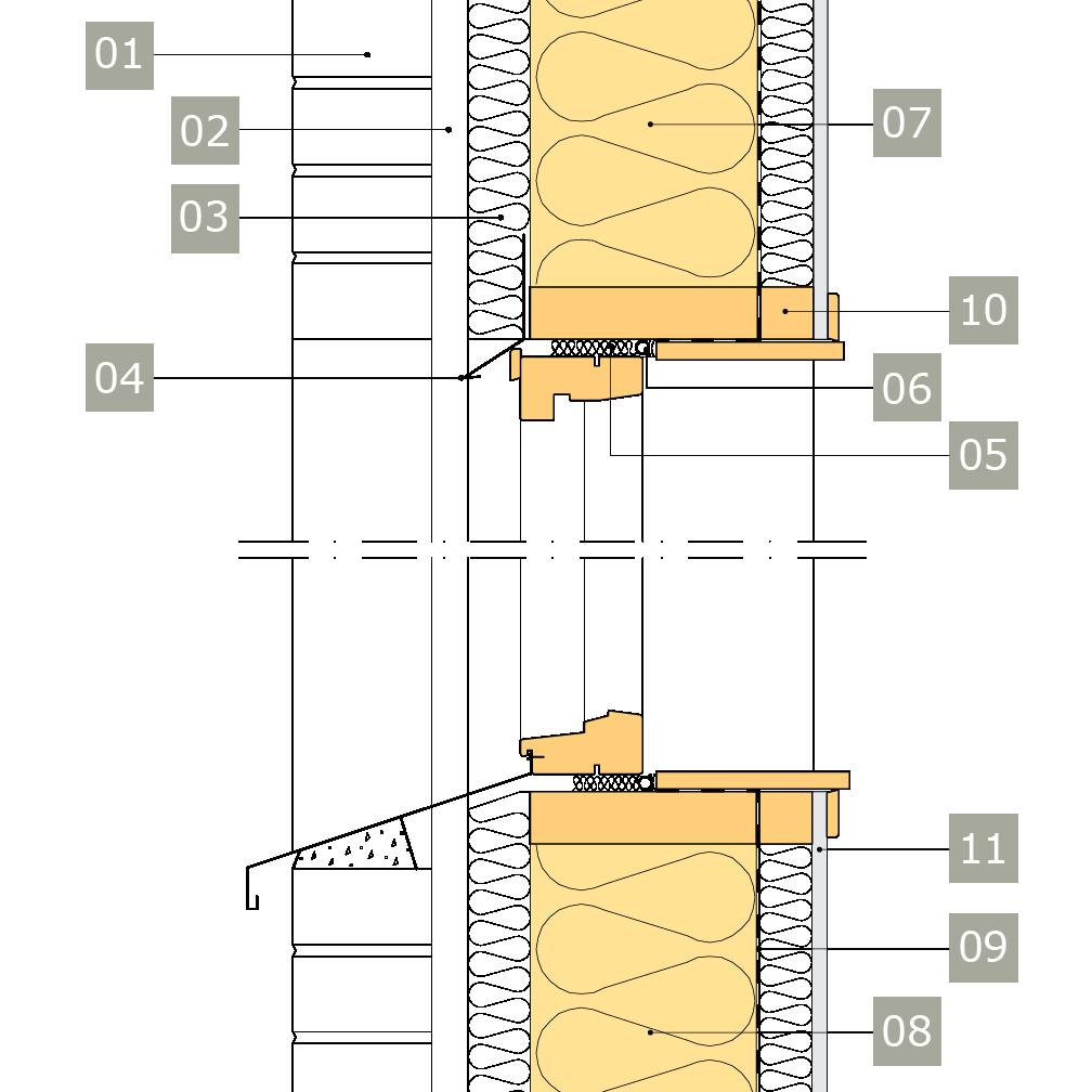 2D-ritning av fönster i yttervägg med reglar av konstruktionsvirke i ett skikt – anslutning mot skalmur