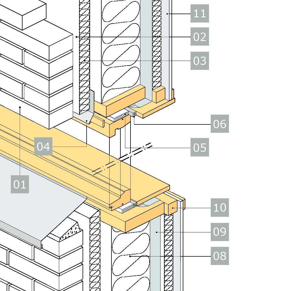 3D-ritning av fönster i yttervägg med reglar av konstruktionsvirke i ett skikt – anslutning mot skalmur