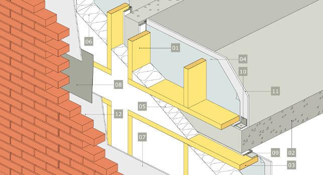 3D-ritning av en icke bärande yttervägg
